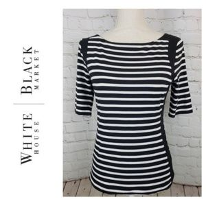 WHBM Striped 3/4 Sleeve Blouse Thin Knit